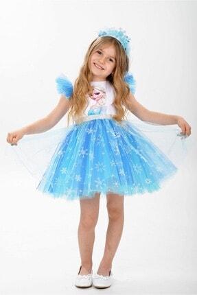 Buse&Eylül Bebe Elsa Karlar Kraliçesi Kar Taneli Taçlı Kız Çocuk Parti Elbisesi
