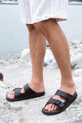 Sateen Men Erkek Kahve Sandalet Terlik