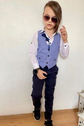 Riccotarz Erkek Çocuk Papyonlu Yelekli Mavi Takım Elbise