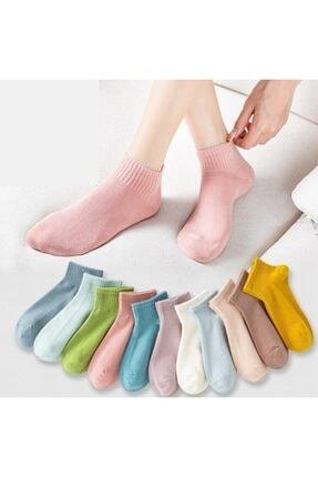 çorapmanya Çok Renkli Yarım Konç Kadın Kolej Çorap 12 Çift