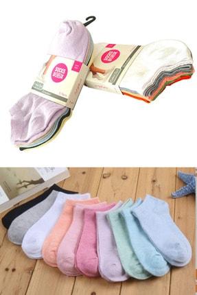 socksbox 10 Çift Koton Ekonomik Karışık Renk Kadın Patik Çorap