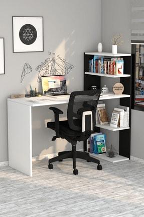 Moonlife Çınar Kitaplıklı Çalışma Masası Beyaz Siyah