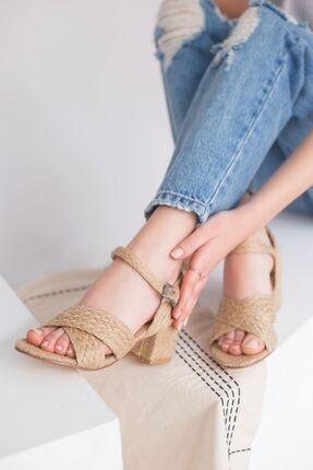 yesh Kadın Hasır Kalın Topuklu Sandalet