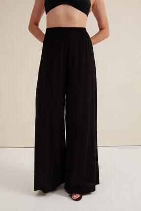 Gusto Yüksek Belli Krinkıl Pantolon - Siyah