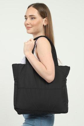 GÜLÇEM butik Kadın Puf Kumaş Pirit Siyah 3 Bölmeli Omuz Çantası