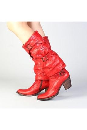 Markalik Kırmızı Hakiki Deri Topuklu Çizme