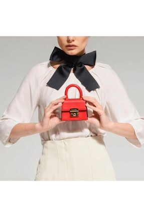 Black Ribbon Kırmızı Kilitli Mini Çanta