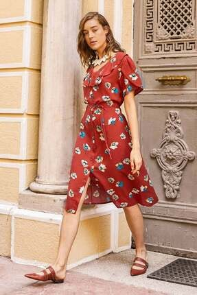 Sementa Çiçek Desenli Midi Boy Gömlek Elbise -