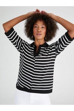 Faik Sönmez Çizgili Gömlek Yaka Kısa Kollu Triko Bluz 62627