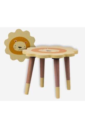 Piccolo Mondi Aslan Figürlü Çocuk Tabure Ahşap