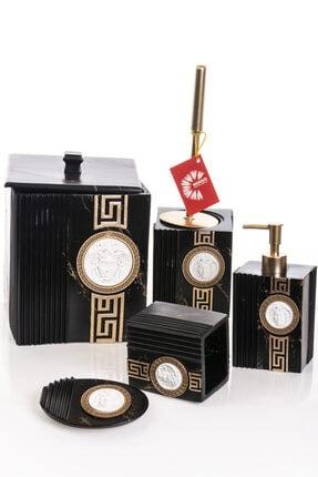 MUKKO HOME Versace Dekorlu Siyah & Gold Polyester 5 Prç Banyo Seti