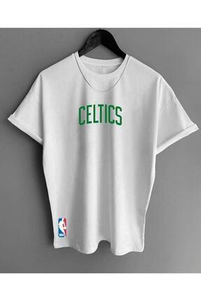 Black Sokak Erkek Beyaz Celtic Baskı Oversize Tshirt