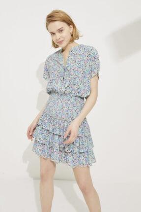 adL Kadın Emp.Mavi Eteği Volanlı Gipeli Mini Elbise