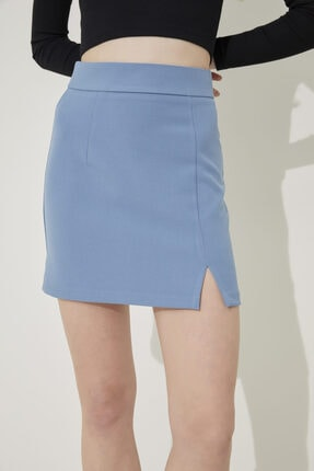 adL Kadın Mavi Yüksek Bel Yırtmaçlı Mini Etek