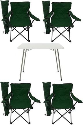 Bofigo Katlanır Masa + 4 Adet Kamp Sandalyesi Yeşil