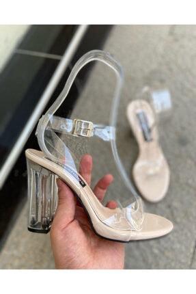 gloriyshoes Kadın Şeffaf Bilekten Bağlı Platformlu Topuklu Sandalet 10 cm Topuklu 1.5 cm