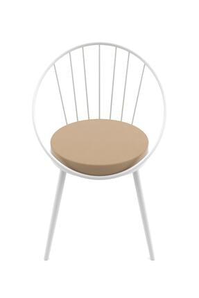 Evdemo Eylül Metal Tel Sandalye Beyaz Kahve