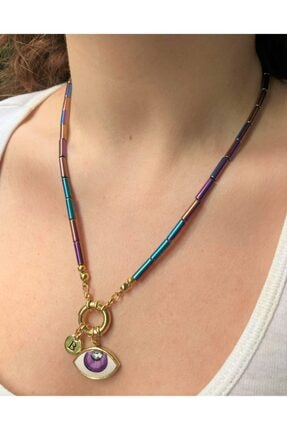 floom jewelry Eflatun Göz Detaylı Yanar Döner Renk Boru Hematit Kolye