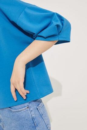 adL Kadın Mavi Kolları Pileli Crop Bluz