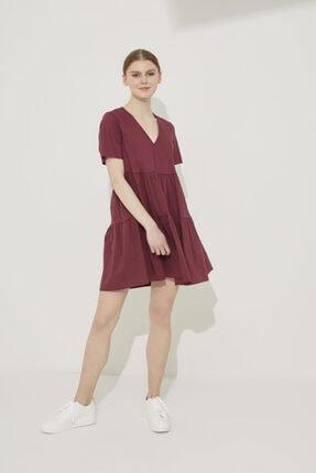 adL Kadın Bordo V Yaka Poplin Elbise