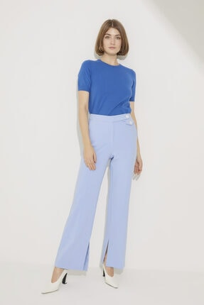 adL Kadın A.Mavi Paçası Yırtmaçlı Bol Pantolon