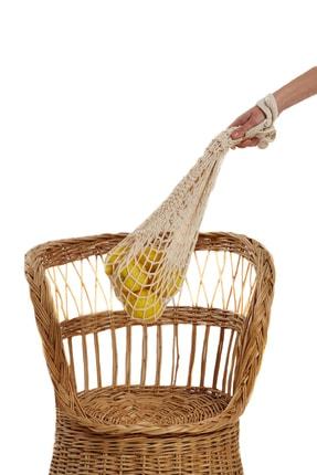 Holly 3 Adet Alışveriş Pazar Filesi Pamuklu Torba Örgü Poşet Yuvarlak Taşıma Filesi