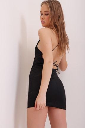 Trend Alaçatı Stili Kadın Siyah İp Askılı Sırt Dekolteli Mini Elbise ALC-X6663