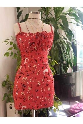 GÜZEŞTE Kadın Nar Çiçeği Vücudu Saran Çiçek Desenli Yazlık Günlük Mini Elbise