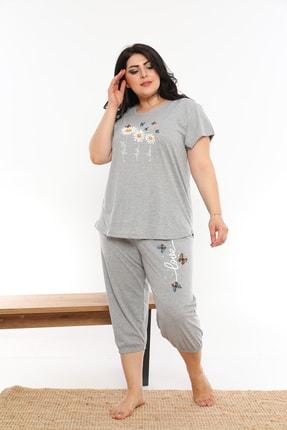 VİENETTA Kadın Papatya Desenli Gri Pijama Takımı