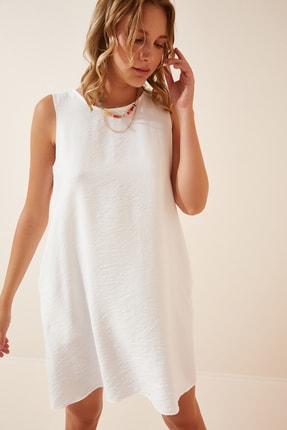Happiness İst. Kadın Beyaz Kolsuz Keten Viskon Çan Elbise JH00005
