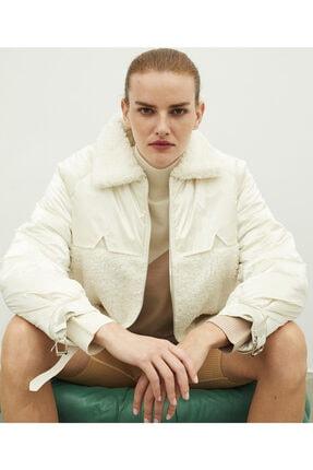 İpekyol Kadın Beyaz Kumaş Mixli Mont