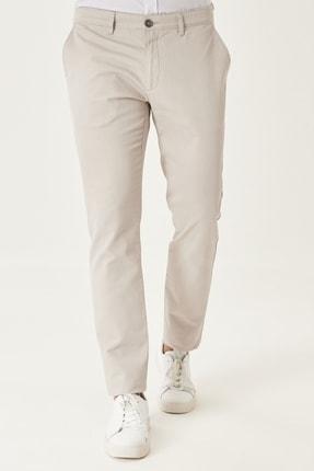 AC&Co / Altınyıldız Classics Erkek Taş Kanvas Slim Fit Dar Kesim Yan Cep %100 Koton Chino Pantolon