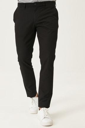 AC&Co / Altınyıldız Classics Erkek Siyah Kanvas Slim Fit Dar Kesim Yan Cep %100 Koton Chino Pantolon