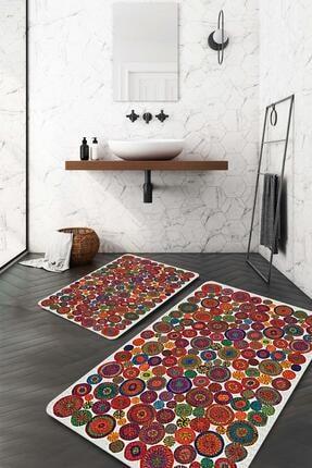 Evsebu Rengarenk Mandala Desen Banyo Paspası