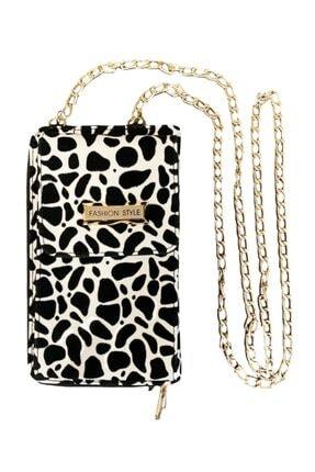 MobilCadde Universal Zincirli Siyah-beyaz Leopar Telefon Çantası