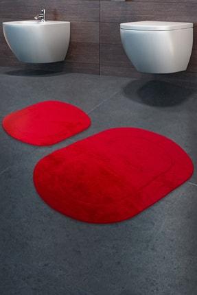 Bonny Home Rixos Kırmızı 2'li Banyo Halısı Paspası Seti Kaymaz Tabanlı Klozet Takımı