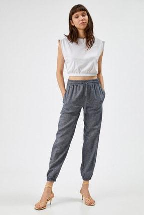 Koton Kadın Mavi Keten Pantolon
