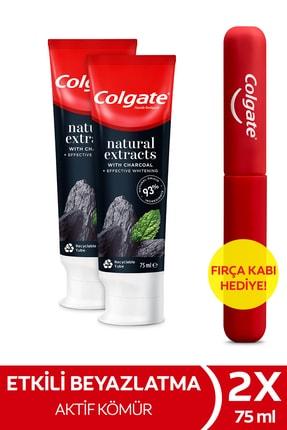 Colgate Natural Extracts Aktif Karbon ve Nane Diş Macunu 75 ml x 2 Adet + Fırça Kabı Hediye