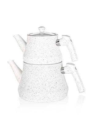 Paçi Bakalit Kulplu Beyaz Çaydanlık