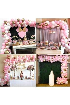 MERİ PARTİ 100 Adet Pembe Beyaz Metalik Balon Altın Krom Balon Ve Zincir