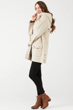 Sementa Kapüşonlu Cepli Kadın Yünlü Triko Ceket - Bej