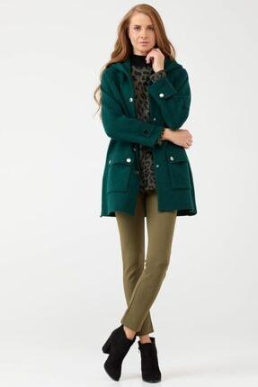 Sementa Kapüşonlu Cepli Kadın Yünlü Triko Ceket - Yeşil