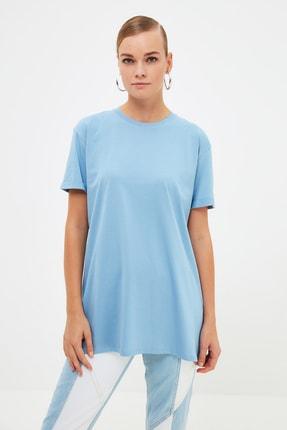 Trendyol Modest Mavi Örme T-Shirt TCTSS21RT0001