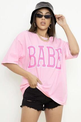 Millionaire Kadın Pudra Pembe Babe Baskılı Oversize T-shirt