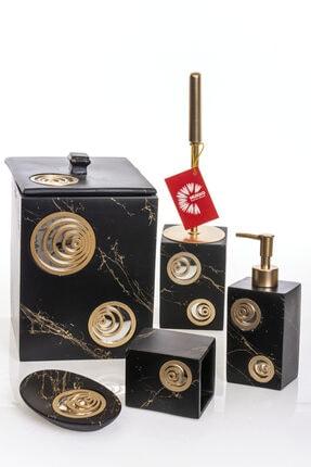 MUKKO HOME Helezon Aynalı Siyah & Gold Polyester 5 Prç Banyo Seti