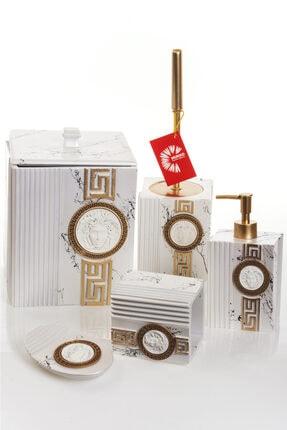 MUKKO HOME Versace Dekorlu Beyaz & Gold Polyester 5 Prç Banyo Seti