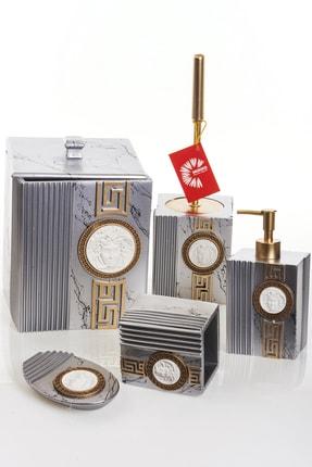 MUKKO HOME Versace Dekorlu Silver & Gold Polyester 5 Prç Banyo Seti