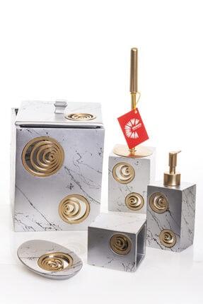 MUKKO HOME Helezon Aynalı Silver & Gold Polyester 5 Prç Banyo Seti