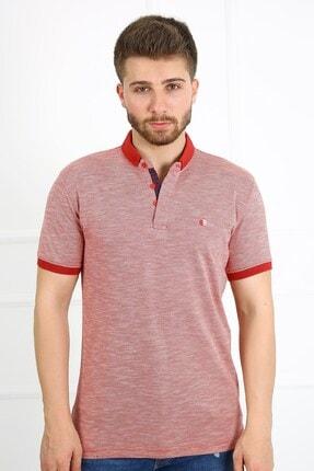 Ette Erkek Kırmızı Jakarlı Battal Boy Oversize Model Polo Yaka T-shirt 5226
