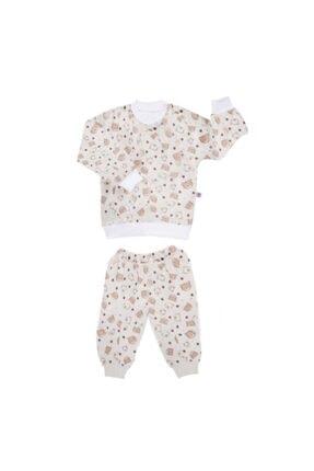 Sevi Bebe Desenli Pijama Takım - Krem 3 Yaş